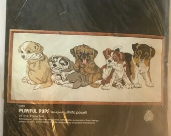 Crewel Stitchery Kit, PLAYFUL PUPS, By: DIMENSIONS
