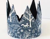 Woodland crown, children crown, birthday crown, fabric crown, first birthday crown, kids crown, cotton crown, toddler crown, forest crown