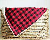Checked baby blanket, buffalo print baby blanket, red/black baby blanket, Sherpa blanket, stroller blanket, car seat blanket, shower gift