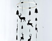 Nursery mobile, deer mobile, tree mobile, woodland mobile, Baby mobile, black tree mobile, scandinavian mobile, nordic monochrome mobile
