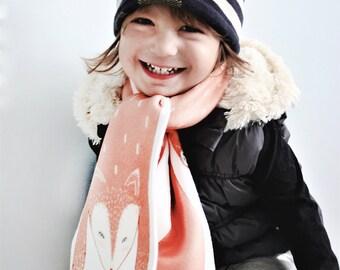 Children scarf, kids scarf, fox scarf, children scarves, fleece scarf, Girls Boys Winter Warm Scarf , children gifts, handmade scarf, scarf