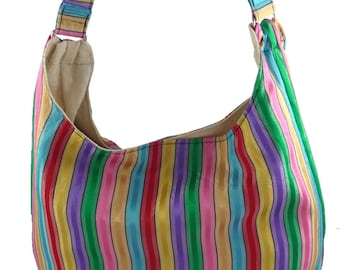 Beachy Striped, Slouch Bag, Hobo Bag, Purse with Fixed Strap | Sewn By Tanya
