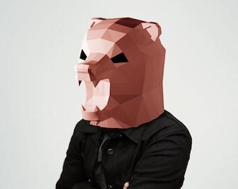 Bear mask, Papercraft, Paper Bear, Make your own papercraft mask, 3d paper craft, Brown Bear, printable DIY template, PDF, Halloween