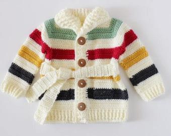 Crochet Hudson's Bay Baby Sweater Pattern