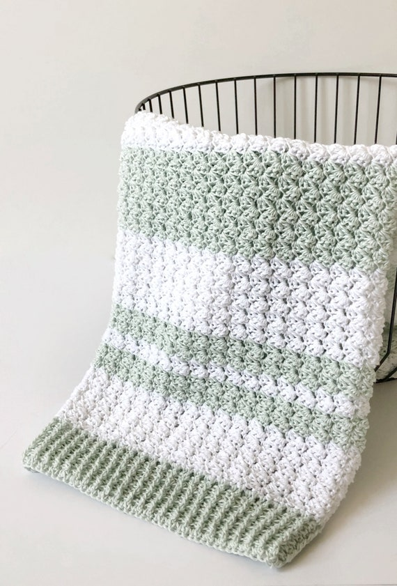 "Animal Farm Gingham /& Striped Baby Boys First  Blanket Knitting Pattern 30 x 30/"""