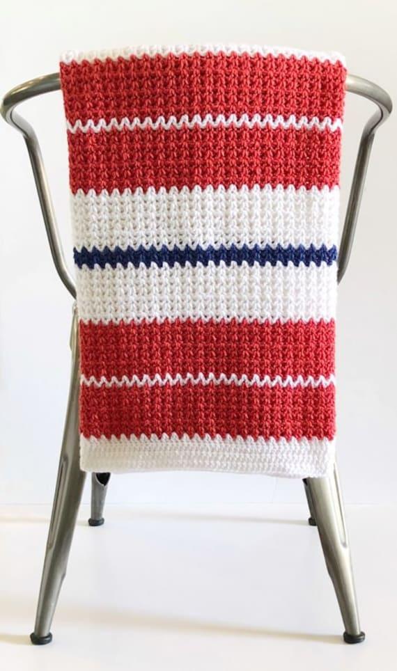 Crochet Modern V Stitch Blanket In Red White And Blue Pattern Etsy