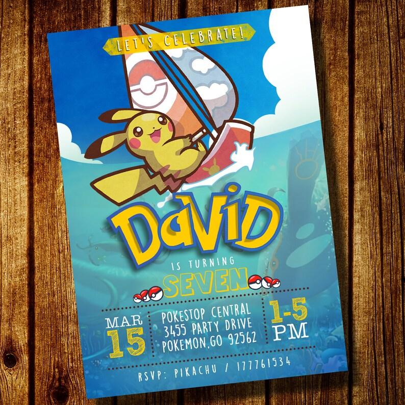 Summer Pokemon Birthday Party Digital Invitation Pikachu Invites Downloadable Printable