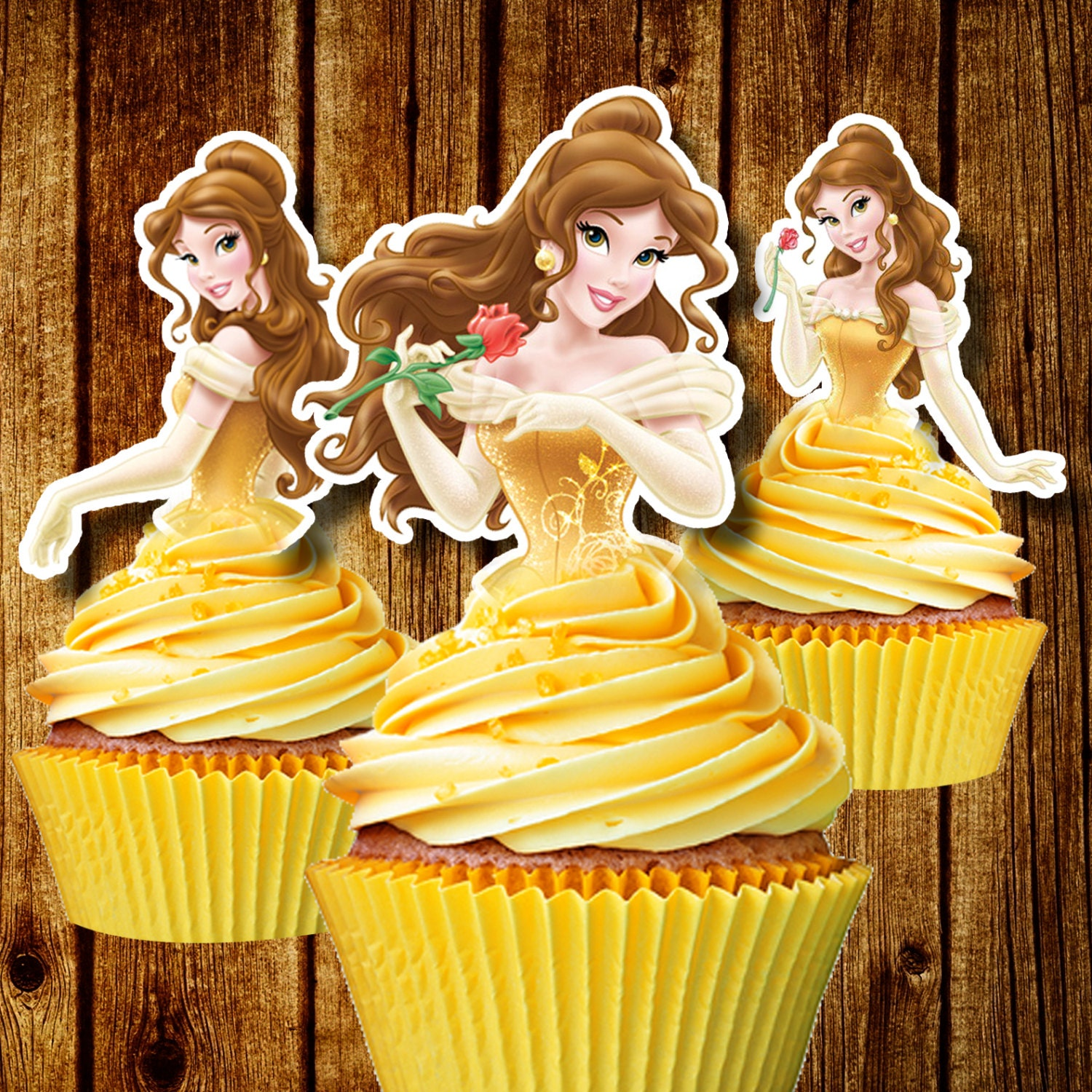 Printable Princess Belle Cupcake Toppers Beauty The Beast Etsy