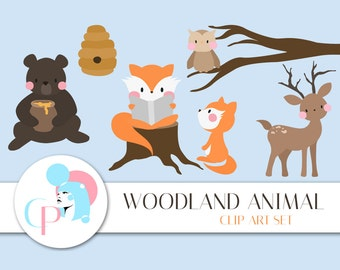 50% OFF Woodland Animals Clip Art Set - Set of 15 - Forest Clip Art - Cute Woodland Animal - Woodland Clipart - Scrapbook