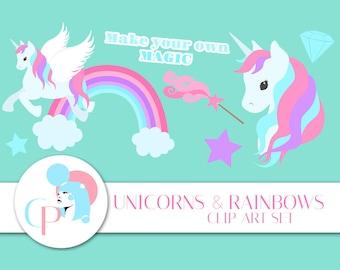 50% OFF Unicorns and Diamonds ClipArt Set - Set of 20 - Unicorn ClipArt - Rainbow ClipArt - Cute Clipart - Scrapbooking