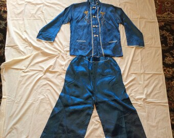 1940s Blue Silk Japanese Outfit