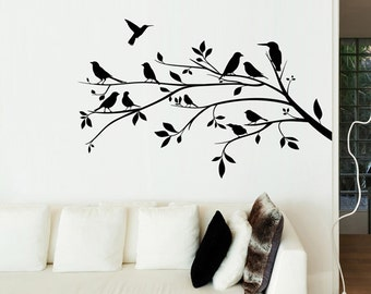 Flora - Birds on a Tree Branch Silhouette Wall Sticker - Right Wall - Art Decal Vinyl Transfer - by Rubybloom Designs
