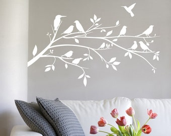 Flora - Birds on a Tree Branch Silhouette Wall Sticker - Left Wall - Art Decal Vinyl Transfer - by Rubybloom Designs