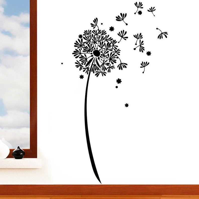 dandelion clock flower wall sticker floral seed art vinyl | etsy