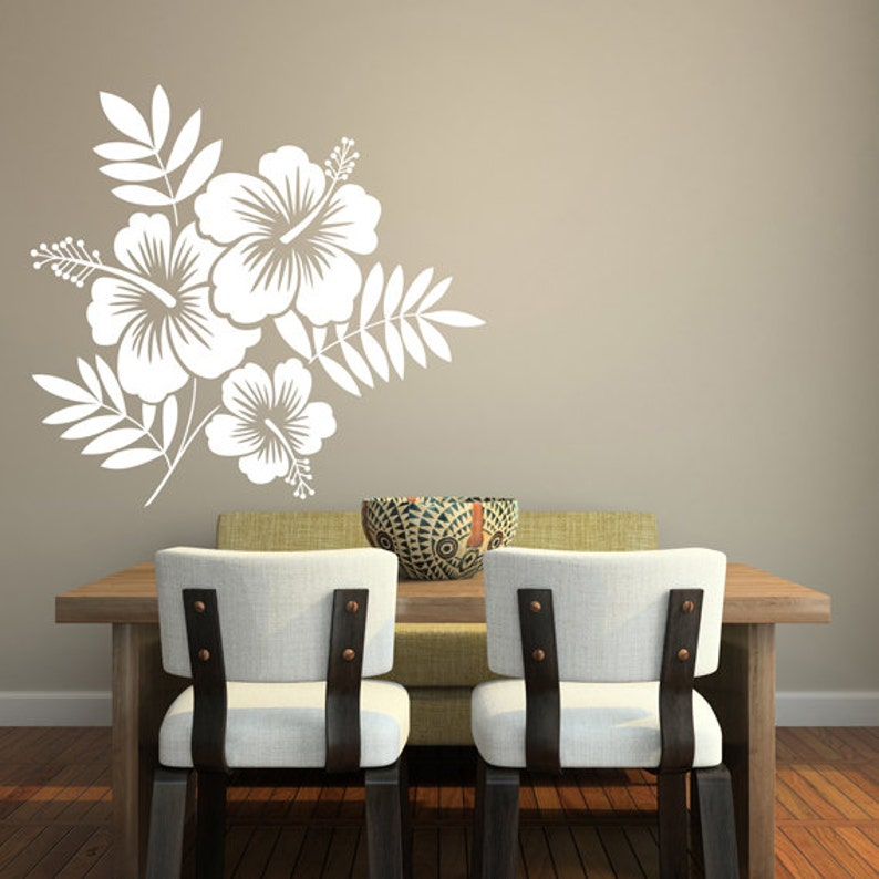 Tropical Hibiscus Flowers Wall Sticker Art Vinyl Decal Etsy