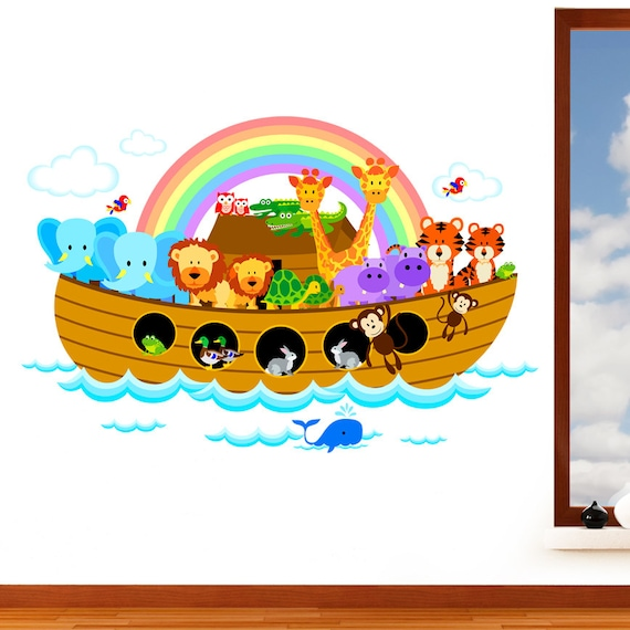 Noahs Ark Childrens Jungle Animal Mural Wall Sticker Nursery Art Vinyl Decal Transfer Conçu Par Rubybloom Designs