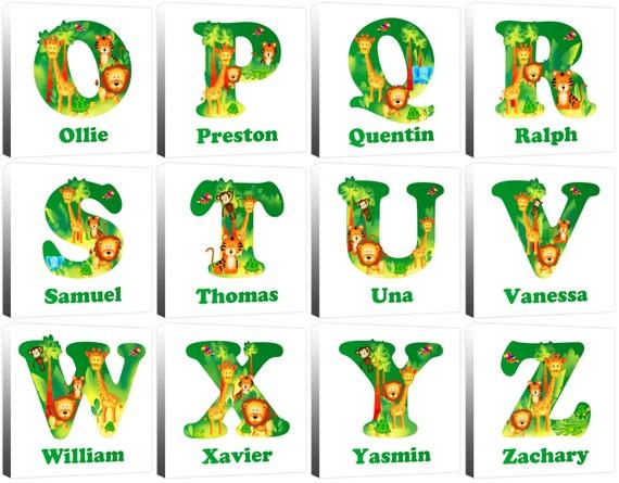 Personalised Jungle Animal Alphabet Letter Children's Name ...