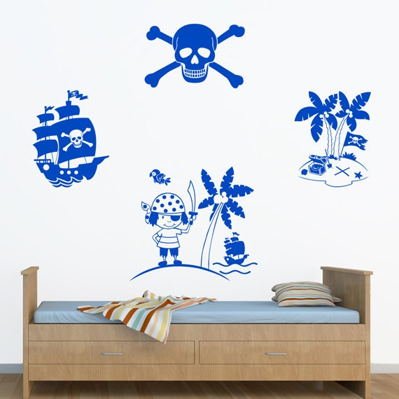 Pirate Ship Boys Boat Sail Treasure Room Name Decal Wall Art Sticker Home UK