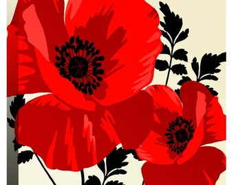 """Large Red Poppy Flowers - Canvas Art Picture Print - 20"""" x 20"""" (52cm x 52cm) - Framed and Ready to Hang by Rubybloom Designs"""