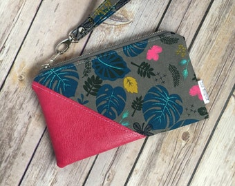 Date Night Clutch, Small Wristlet, Vegan Leather, Cotton and Steel, Floral Fabric, Pink Leather, Evening Bag, Modern Clutch