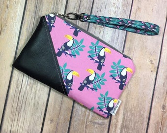 Date Night Clutch, Pink Fabric Wristlet, Toucan Fabric, Tropical Wristlet, Hawthorne Threads, Vegan Leather, Gift Under 50, Vegan Wristlet