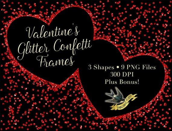 Valentine Heart Glitter Confetti Frames Red Gold Pink Etsy
