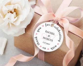 Printable Wedding Favor Tags ~ Editable PDF Heart DIY Gift Labels ~ Instant Download ~ 2-Inch Round Thank You, Pink Heart Arrow