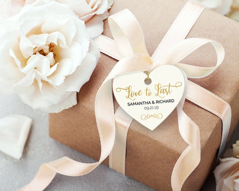 Gold Foil Effect Printable Wedding Favor Tags ~ Editable PDF Love to Last Heart DIY Gift Labels ~ Instant Download ~ 1.5-Inch Thank You