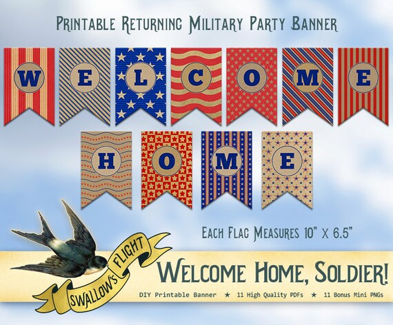 Printable Welcome Home Banner Bunting Military Army Navy ...