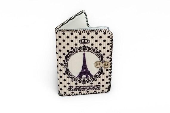 La Tour Eiffel En Pointills Blanc Imprim Porte Cartes Blanches Parsemes De Titulaire Carte Visite