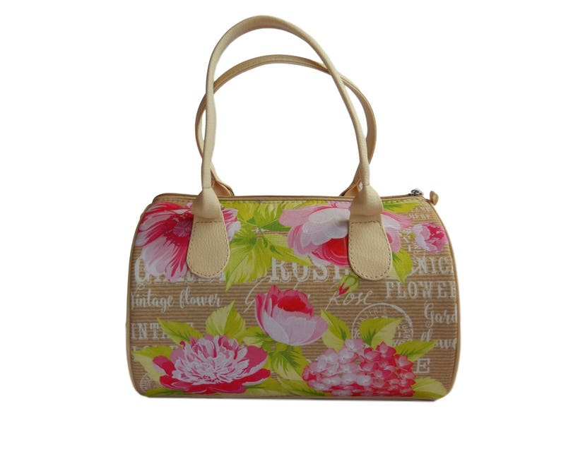 Beige Summer Handbag with Floral Print Faux Leather and