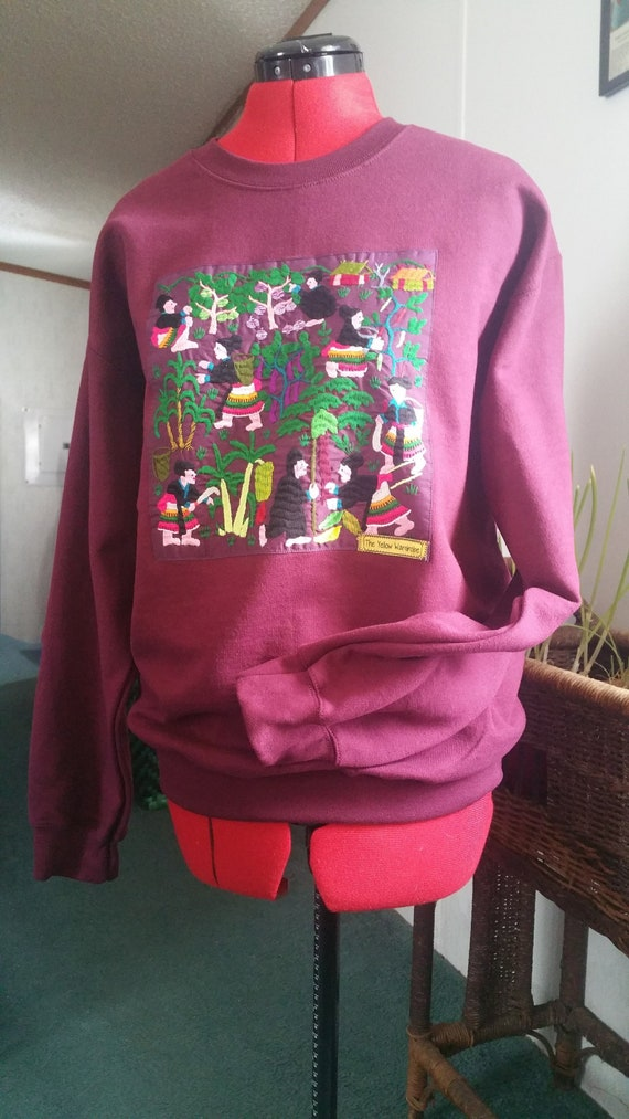 Hmong Story Cloth//Hand Embroidered//Maroon Long Sleeve Sweatshirt//Crew Neck Sweater//Unisex Sweatshirt// by Etsy