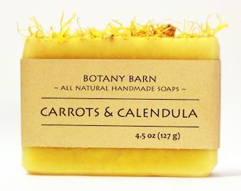Organic Calendula  Soap - Carrots and Calendula, Unscented Soap, Sensitive Skin, Natural Soap, Handmade Soap, Cold Process Soap, Vegan Soap
