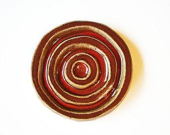 Ceramic Soap Dish - Red Soap Dish, Round Soap Dish, Round Ceramic Dish, Clay Soap Dish, Handmade Soap Dish, Soap Rest, Pottery Soap Dish