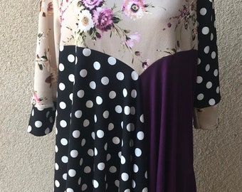 a6f1c5053a57 luisalove30~Beige Purple Floral / B&W Dot Women's Color Block Top , TOP ONLY