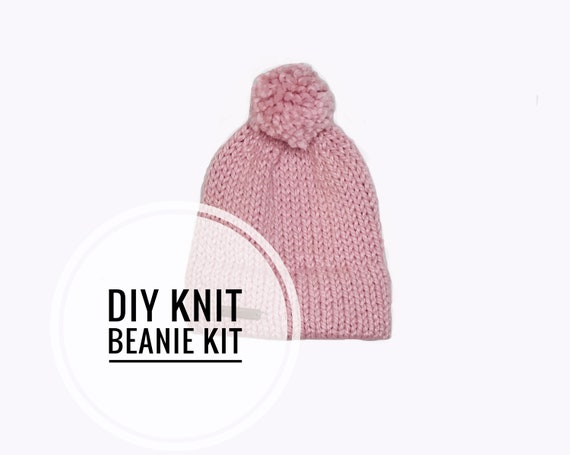 Avery Beanie DIY Knit Kit. Easy Pattern. All materials included.