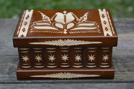 Carved wooden box with lock, Birthday Anniversary gift, Trick box, Draculas  Secret box, Puzzle box, Mystery box