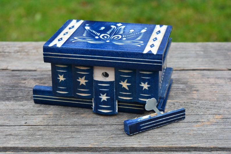 Unique Gift Men Husband Him BLUE Mystery Puzzle Carved Wooden Secret Stash Box with Lock Hidden compartment