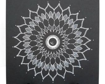Mandala dessin - noir et blanc Mandala dessin Mandala Original - Art du Mandala - - Insight Mandala - Intuitive Art original - spirituel
