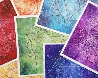 Chakra Art Prints - Chakra Painting - Gift for Her -  Chakra Art - Gift for Mom - Lotus Art - Mandala Art - Yoga Art Print -  Spiritual Art