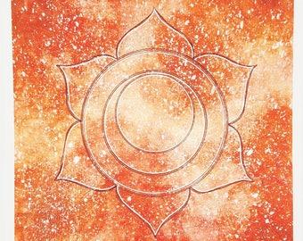 Sacral Chakra Art Print - Svadhisthana Chakra Art - Galaxy Watercolor - Chakra Art - Watercolor Sacral Chakra -  Svadhisthana Chakra Sign