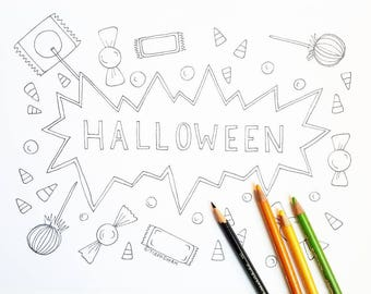 Halloween Coloring Page - Halloween Candy - Adult Coloring Page - Adult Coloring Book - Halloween Coloring Page - Happy Halloween Coloring