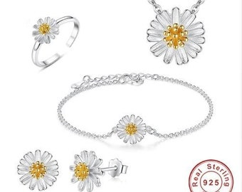 0f201ae28 Bridal/ Wedding jewelry set, Small & cute Gold Daisy Flower 925 Sterling  Silver set, Earring, Bracelet, Necklaces, Resizable Ring