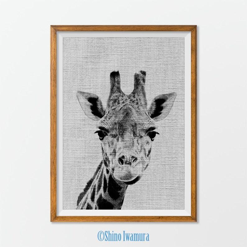 żyrafa Wydrukować Plakat Zwierząt Na ścianę Druku Zwierząt Sztuka Drukowania Czarno Białe