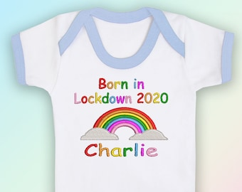 Personalised Born in Lockdown Embroidered Baby Bandana Dribble Bib Gift Unisex