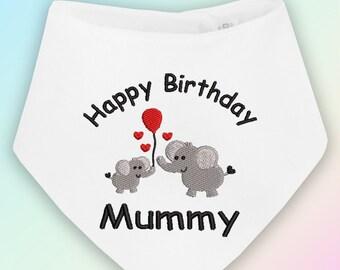Happy Birthday Mummy Embroidered Baby Bandana Dribble Bib Gift Mum Mother Cute