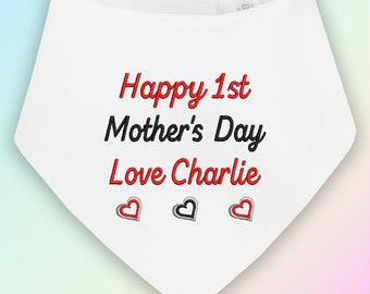 Happy 1st Mother/'s Day Hearts Embroidered Baby Bandana Dribble Bib Gift