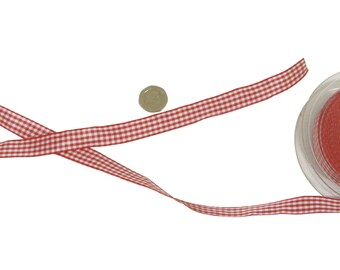 Gingham Check Red White Ribbon 10mm *4 Lengths*