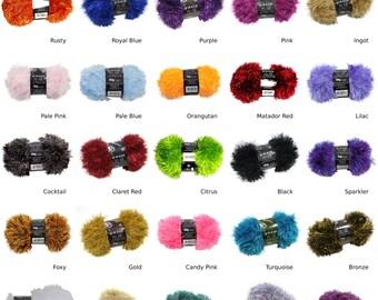 06c6394b8 2 x Tinsel Sparkle Eyelash Chunky 50g Wool Yarn Ball Free Scarf Pattern  35  Colours