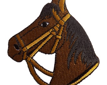 Horse Head Brown Embroidered Iron On Applique